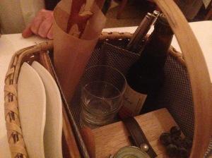 Inside the picnic basket