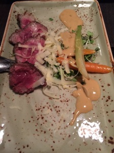 Grilled Iberian pork, pickled vegetables and Comte cheese