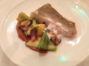John Dory, sea flavours mini zucchini and smoked liver
