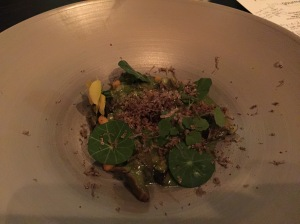 Snails with barley, mushrooms and truffles