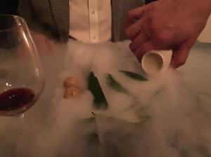 served with liquid nitrogen