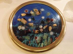 """Submarine window"" - barnacles, shrimp, prawn, razor clam and seaweed on gelatinous coconut milk"