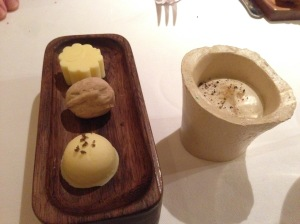 butter selection: with smoked salt, walnut, plain salt, and bone marrow