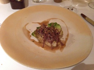 Lettuce and veal hearts, bone marrow and walnuts