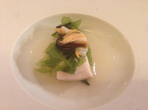 """Dip in the sea"" - Seabass with shellfish, seaweed and mushroom"