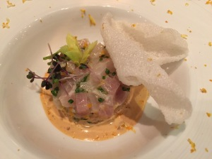 Marianted swordfish on cream from sea urchin eggs