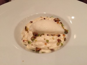Macedonian halva mousse; praline from tahini and spearmint, lemon sorbet and caramelized peanuts