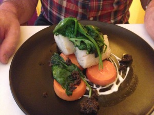Codfish confit and its juices with oven baked sweet potato and wilted spinach