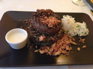"Lamb hamburger, as a ""Kefta"", wild rice, lentils, caulifower and minty yogurt sauce"