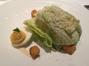 Gotham Caesar: romaine, white anchovy, parmesan, deviled egg, garlic croutons