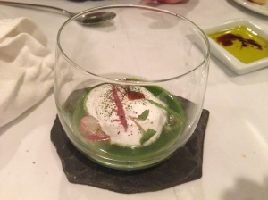 Fresh oyster, prawn and sea urchin in a rocket and spinach chlorophyll and oyster foam