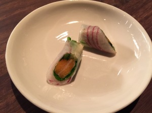 Vegetable roll with cured Artic char and Thai basil