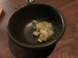 Madai: consomme, shiso with Sea bream and gel