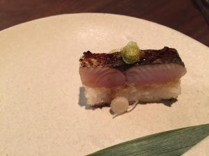 Mackerel sawarazushi with ginger and dashi ponzu