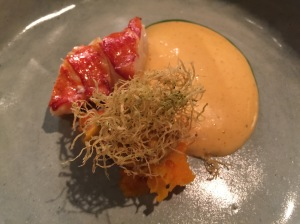 Lobster with fried ginger, sweet potatoes and tonburi sauce