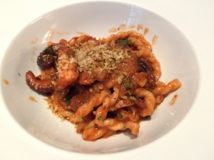 Fusilli: durum wheat pasta, red wine braised octopus, bone marrow