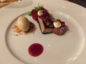 Chestnut, cranberries, liquorice ice cream