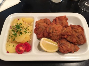 Deep fried chicken liver with potato salad