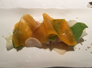 Pumpkin and citron with hemp and king trumpet mushrooms