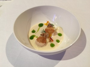 Cream vichyssoise and shrimp, oil of leek and pomme souffle