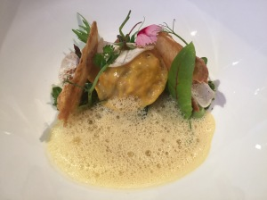 Lobster with pea, king oyster mushroom, parsley and roasted bread