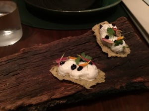 blue cheese foam on cracker
