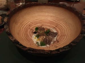 wood bowl to serve dumplings