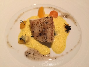 Cornish turbot with pumpkin, mandarin and ginger
