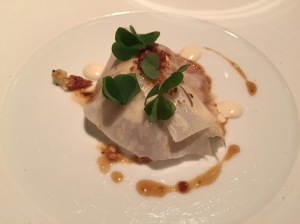 Jowl of pork with celeriac, chestnuts and bacon