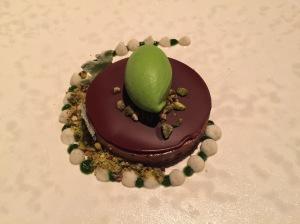 Dark chocolate with pave, lovage ice cream and milk puree