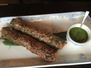 Gilafi Quail Seekh kebab with pickled green chili chutney