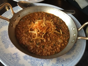 Kid Goat Methi Keema, Salli Pao with added Bheja (goat brains)