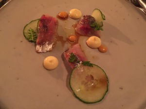 Cornish horse Macherel, English mustard and chrysanthemum