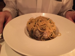 Spaghetti with Baynes Sound Manila clams, parsley, white wine, and garlic sauce