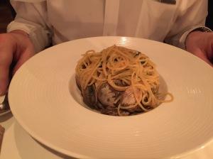 Spaghetti with Baynes Sound Manila clams, parsley, white wine, and garlic sauce