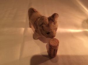 Frankie sniffs the cork