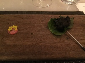 Oyster charcoal shiso, salted plum