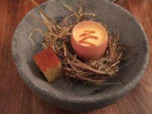 Egg with caramel and cornbread