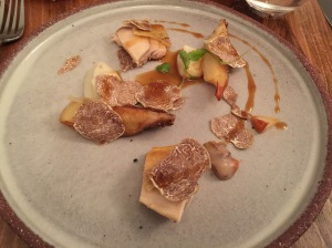 Chicken with white truffles, whipped Jerusalem artichokes and parsley root