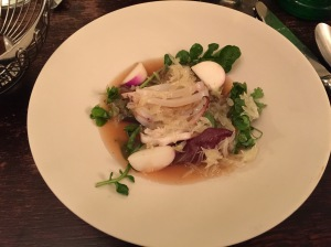 small St. Jean de Luz squid, turnip and pomelo
