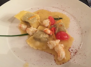 Prawns with artichokes and ricotta ravioli