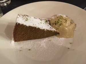 Cake of the day with pistachio ice cream