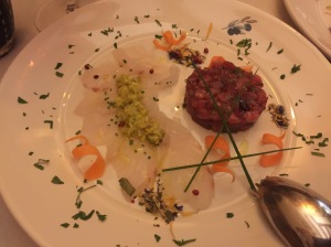 fish carpaccio and tartar