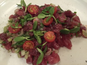 Tuna tartar with chives, cucumbers and tomatoes