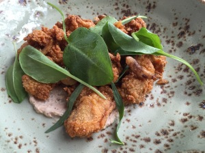 Fried oysters, smoked catfish remoulade, pickled garlic