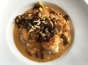 Gulf shrimp, anson mills grits, smoked peanuts and brussels