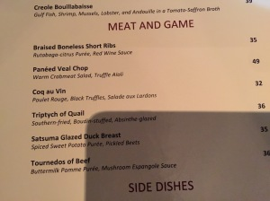 meat and game menu