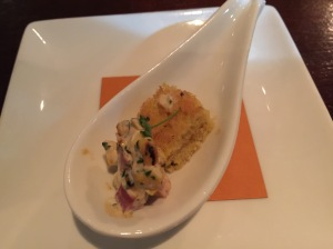 amuse bouche: Jalapeno corn bread with taso ham salad