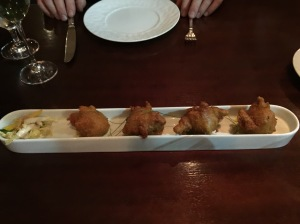 Beer battered crab beignets