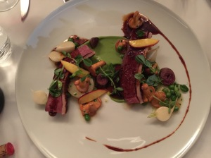 Duck magret, heart, green peas, chanterelles, white turnips, truffle